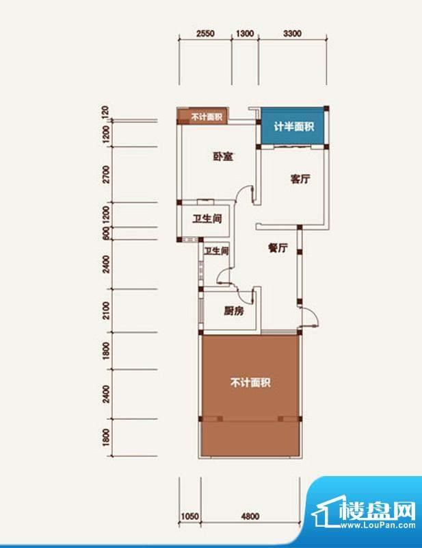 西湖龙庭A型标准层 面积:70.63m平米