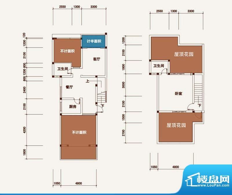 西湖龙庭A跃层 2室1面积:93.37m平米