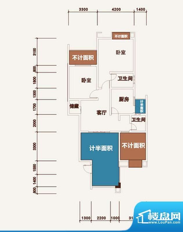 西湖龙庭E型标准层 面积:101.08m平米