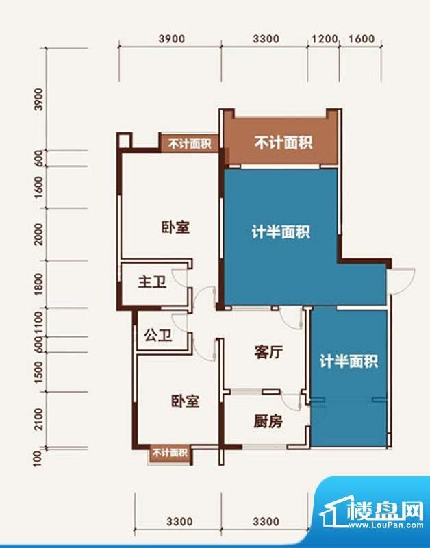 西湖龙庭G1型标准层面积:102.47m平米