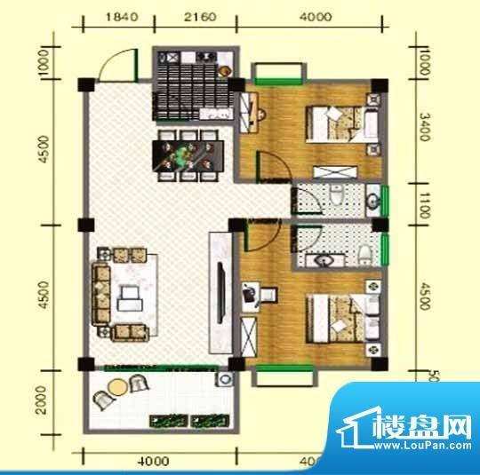 龙头山雅苑04户型 2面积:85.00m平米