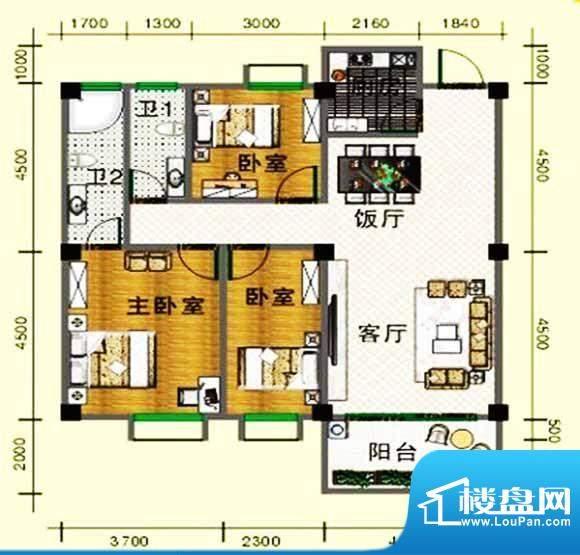 龙头山雅苑户型图 3面积:105.00m平米