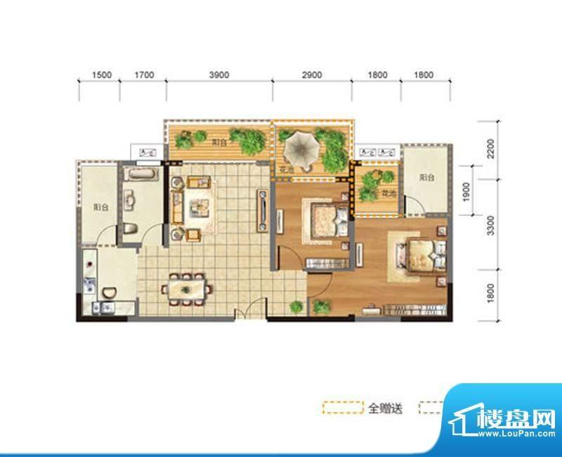 玉龙居D-D3型 2室2厅面积:88.10m平米