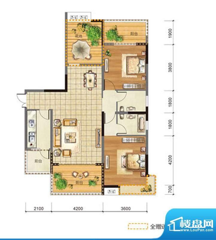玉龙居D-D2型 2室2厅面积:115.90m平米