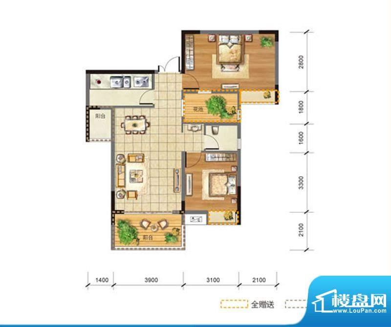 玉龙居C-C2型 2室2厅面积:88.20m平米