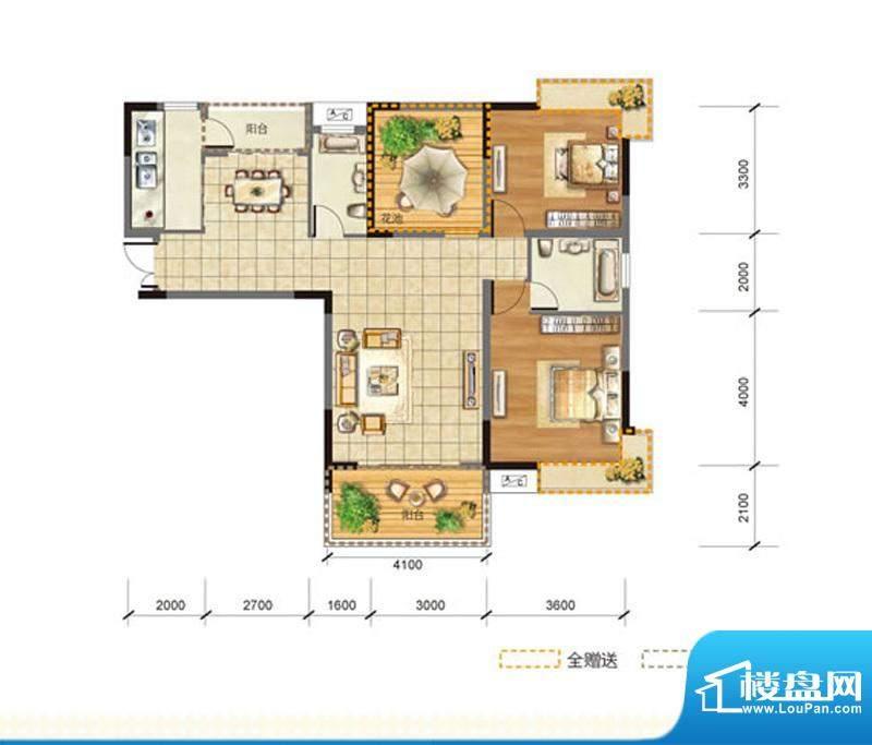 玉龙居C-C1型 2室2厅面积:111.00m平米