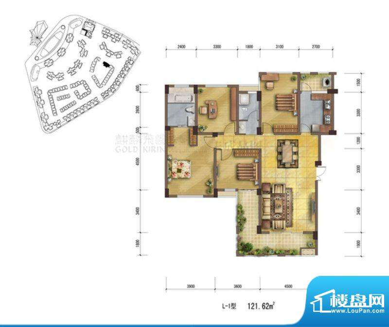 鹭岛国际社区L1户型面积:121.62m平米