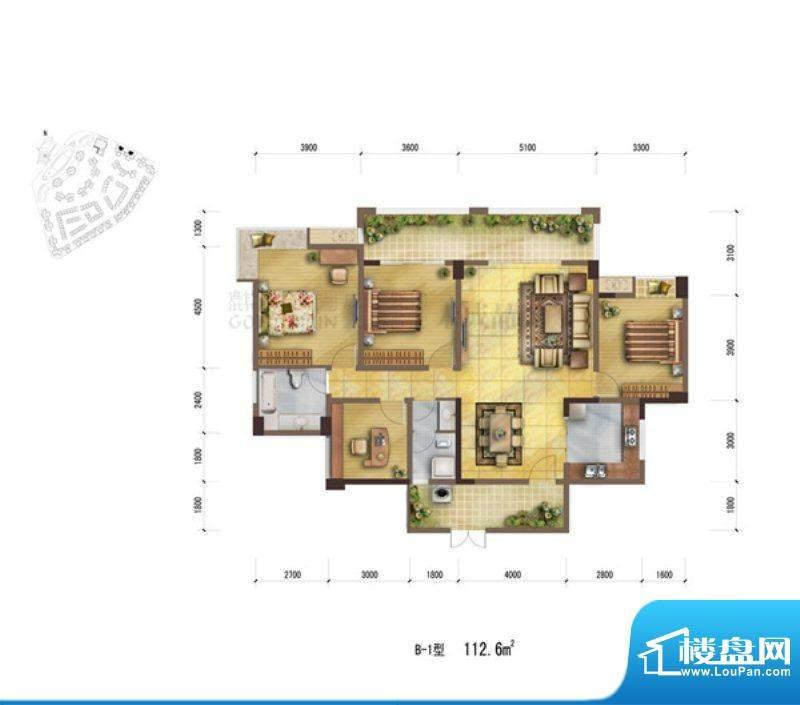 鹭岛国际社区B1户型面积:112.60m平米