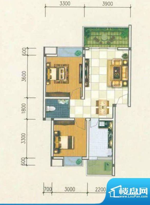 香城名都C型 3室3厅面积:71.62m平米