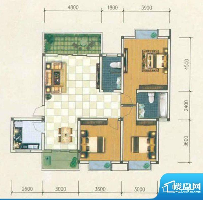 香城名都B2型 3室2厅面积:121.14m平米