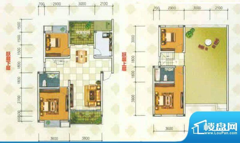 香城名都A型跃层 4室面积:128.02m平米