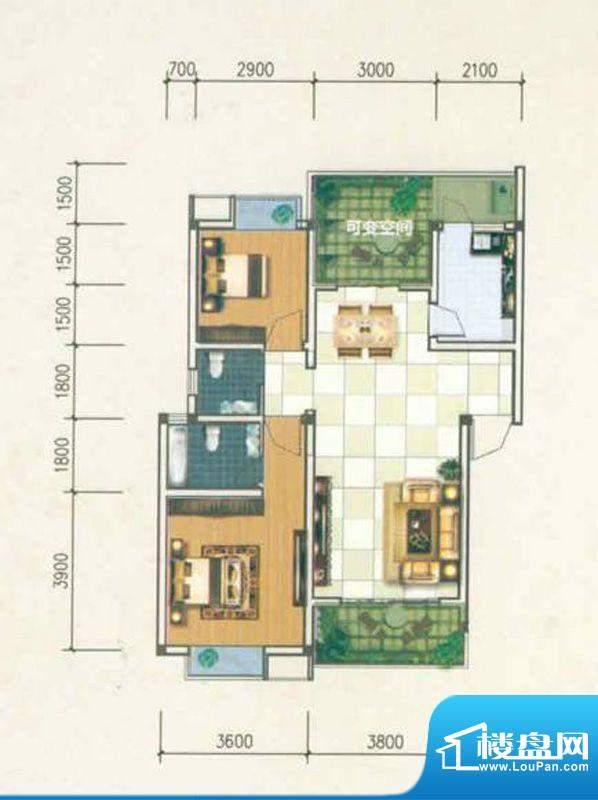 香城名都A型 2室2厅面积:90.12m平米