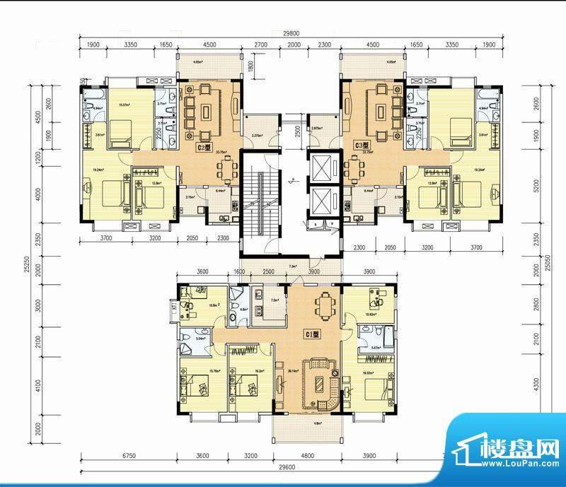 金鼎花园C户型 3室2面积:135.49m平米