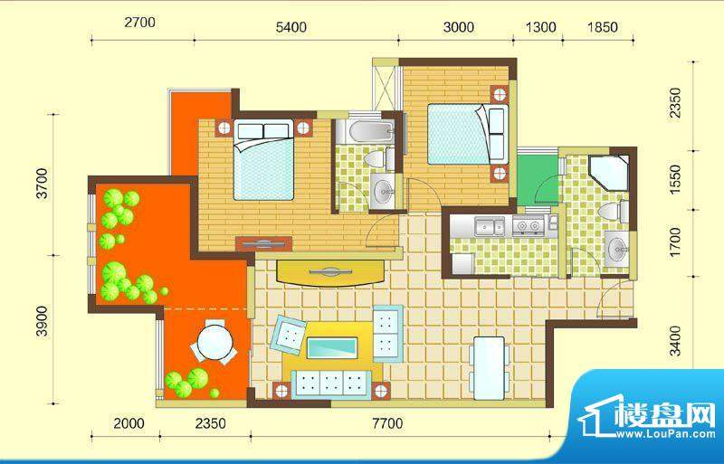 西湖紫微A2型 2室2厅面积:93.00m平米