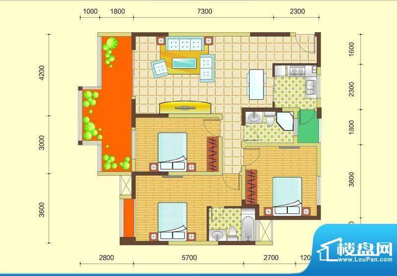 西湖紫微B1型 3室2厅面积:115.60m平米