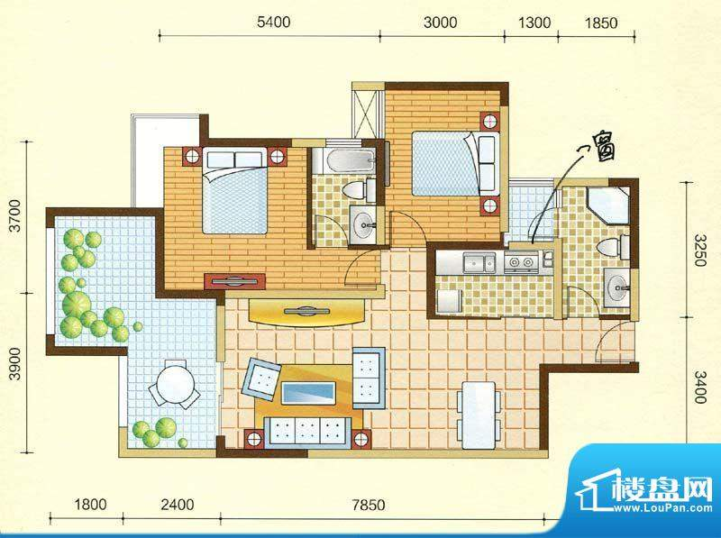 西湖紫微A2型 2室2厅面积:98.41m平米
