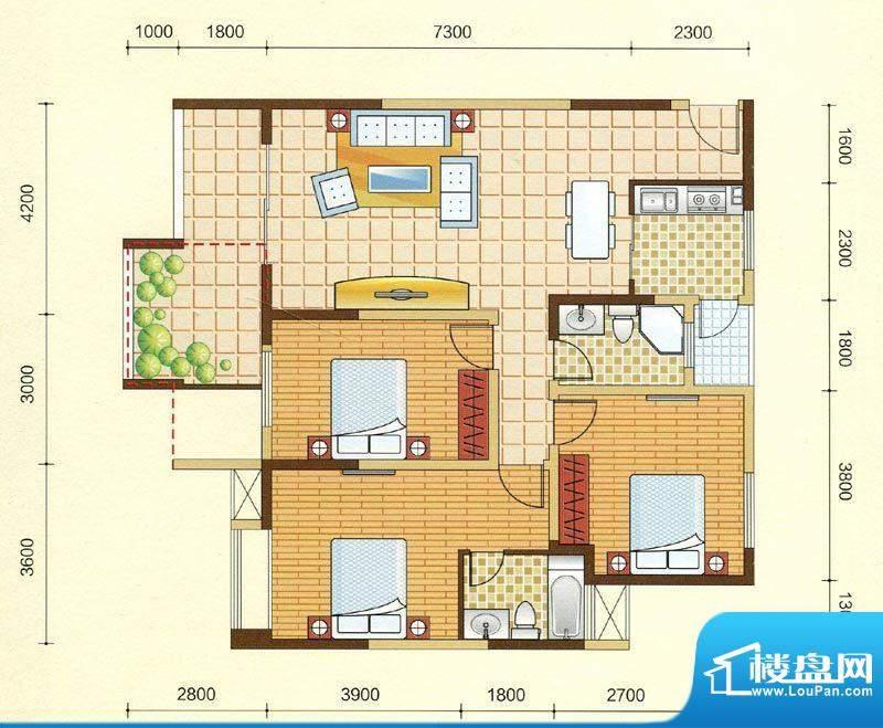 西湖紫微B1型 3室2厅面积:117.20m平米