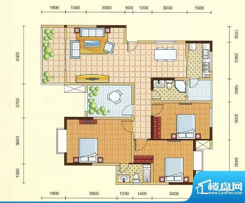 西湖紫微B2型 3室2厅面积:130.01m平米