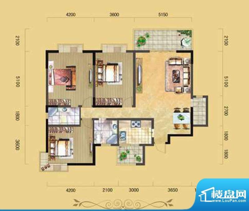 民生·雅居A1型 3室面积:150.00m平米
