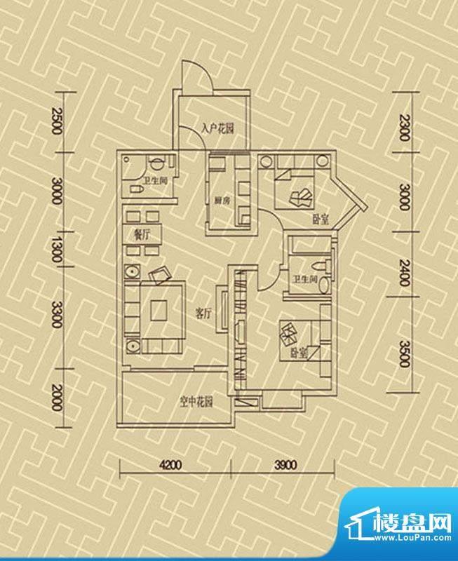 星辰丽港A型 2室2厅面积:98.00m平米