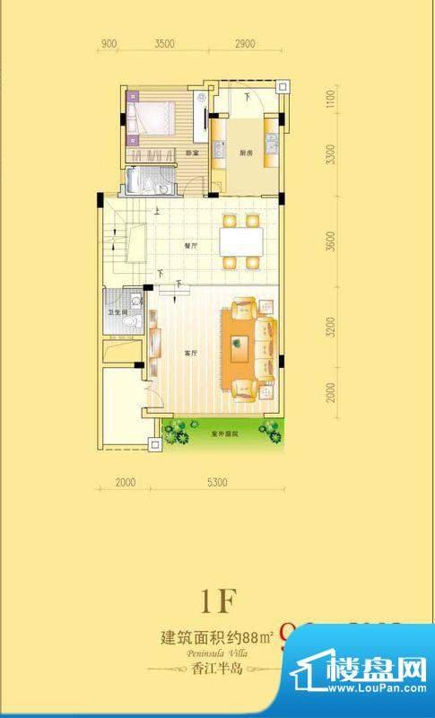 香江半岛A栋1F户型图面积:90.20m平米