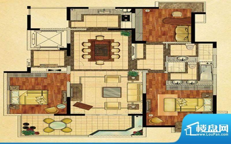 龍泊湾一期B户型 3室面积:140.00m平米