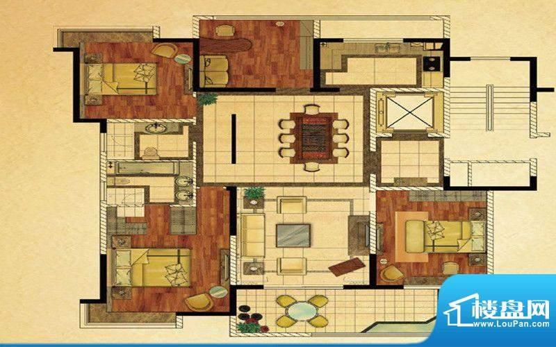 龍泊湾一期E户型 3室面积:160.00m平米