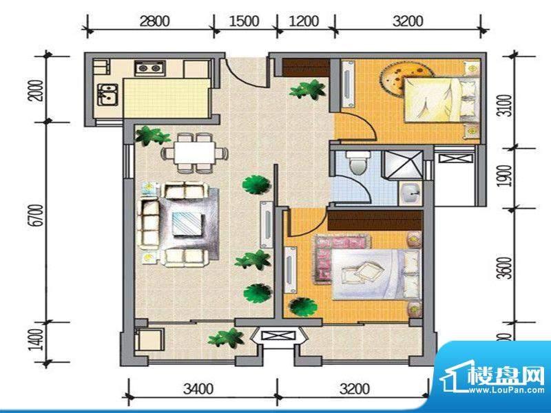 龙桥新园二期7、9号面积:88.00m平米