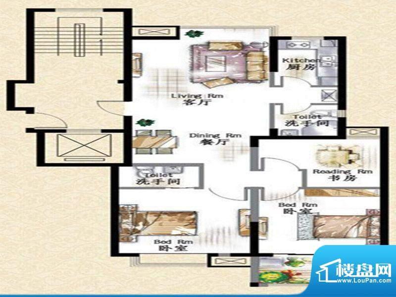 华府景城9号楼标准层面积:113.00m平米