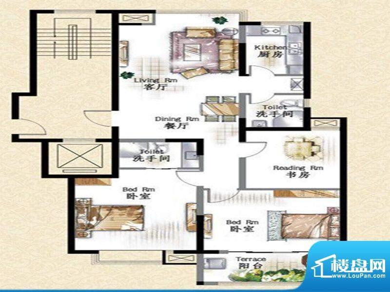 华府景城6号楼标准层面积:120.00m平米