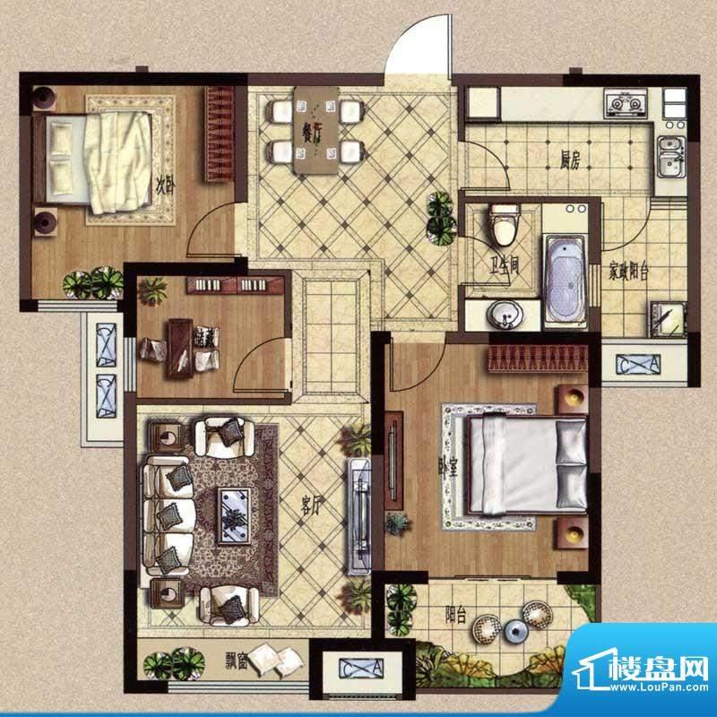 中环紫郡B2户型 三室面积:97.92m平米