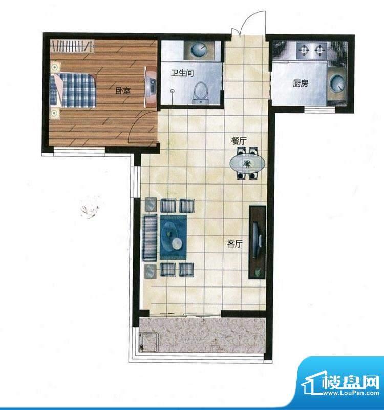 尚品林溪户型J 1室2面积:62.00m平米