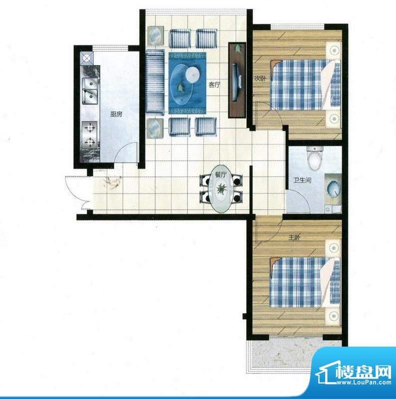 尚品林溪户型C 2室2面积:83.92m平米