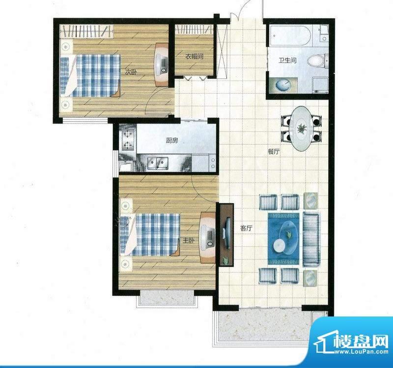 尚品林溪户型E 2室2面积:88.38m平米