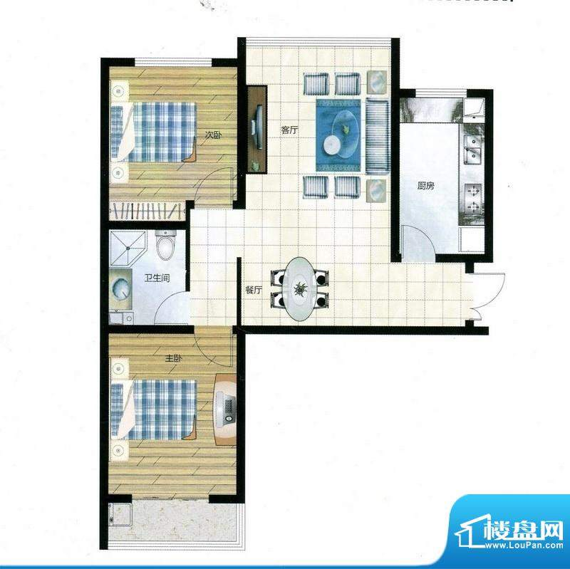 尚品林溪户型D 2室2面积:82.76m平米