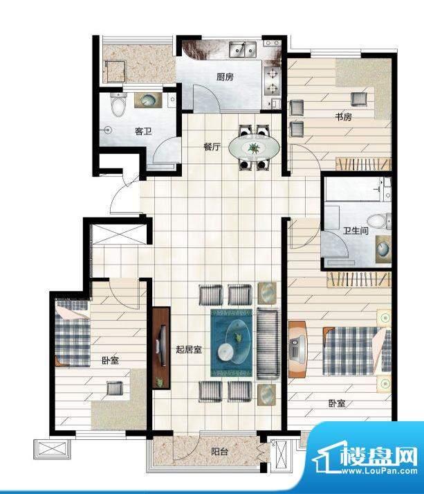 尚品林溪C2户型 2室面积:125.00m平米