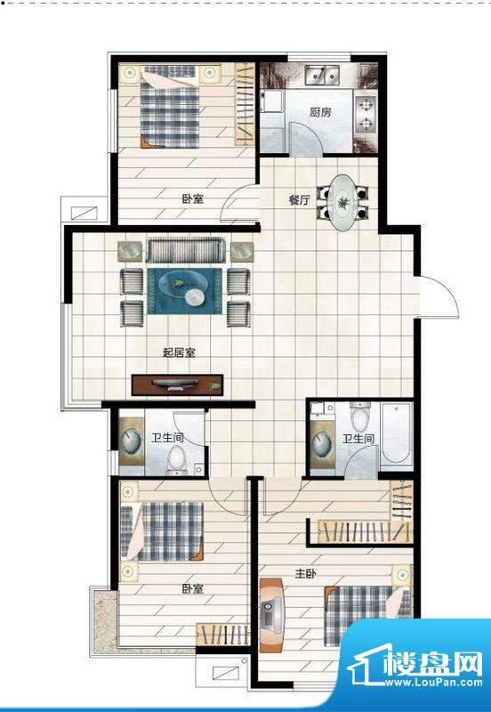 尚品林溪A1户型 3室面积:134.00m平米