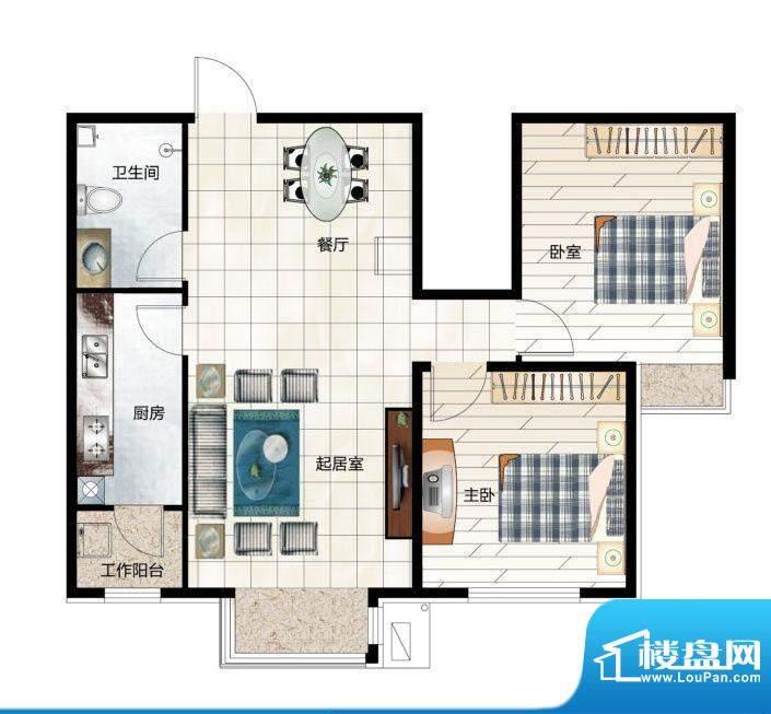 尚品林溪A2户型 2室面积:92.00m平米