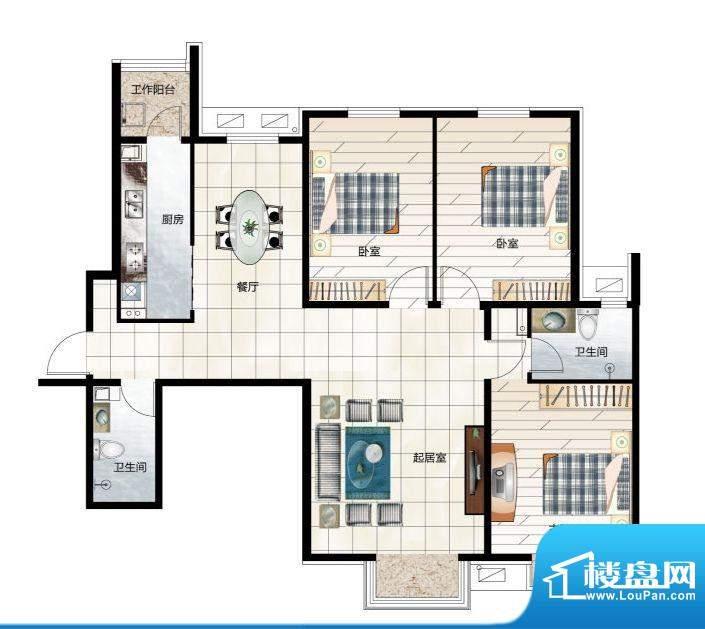 尚品林溪A3户型 3室面积:135.00m平米