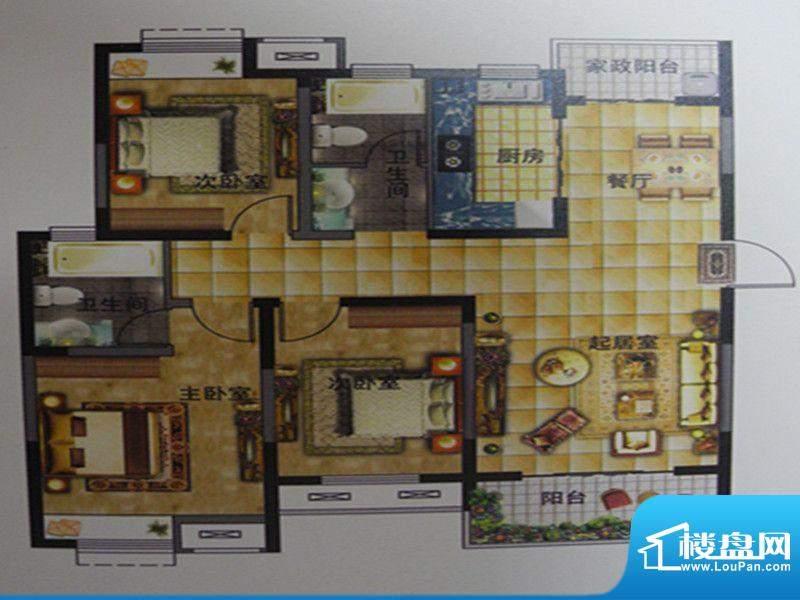 凤鸣缇香一期14号楼面积:124.65m平米