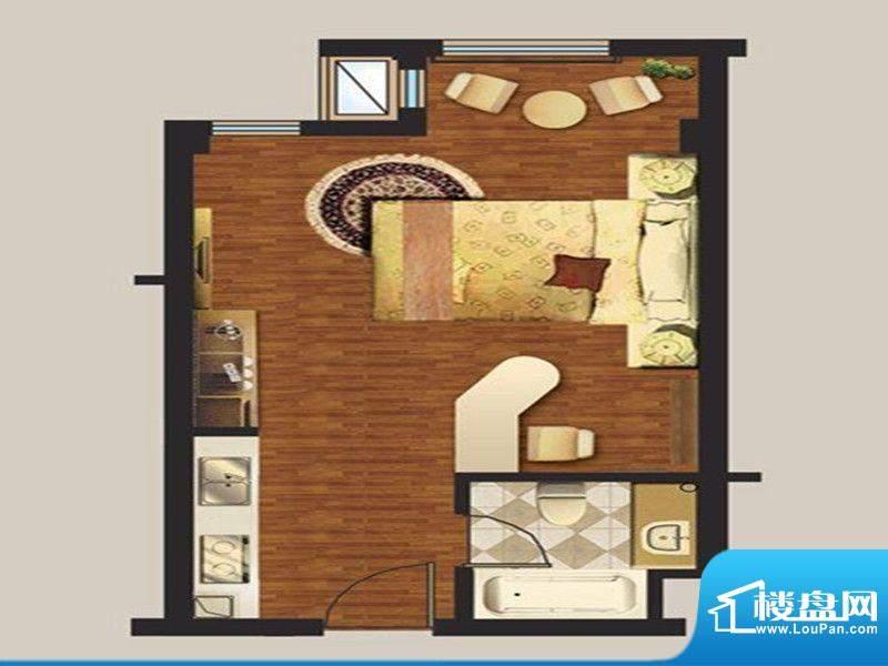 诚通国际城一期公寓面积:48.00m平米