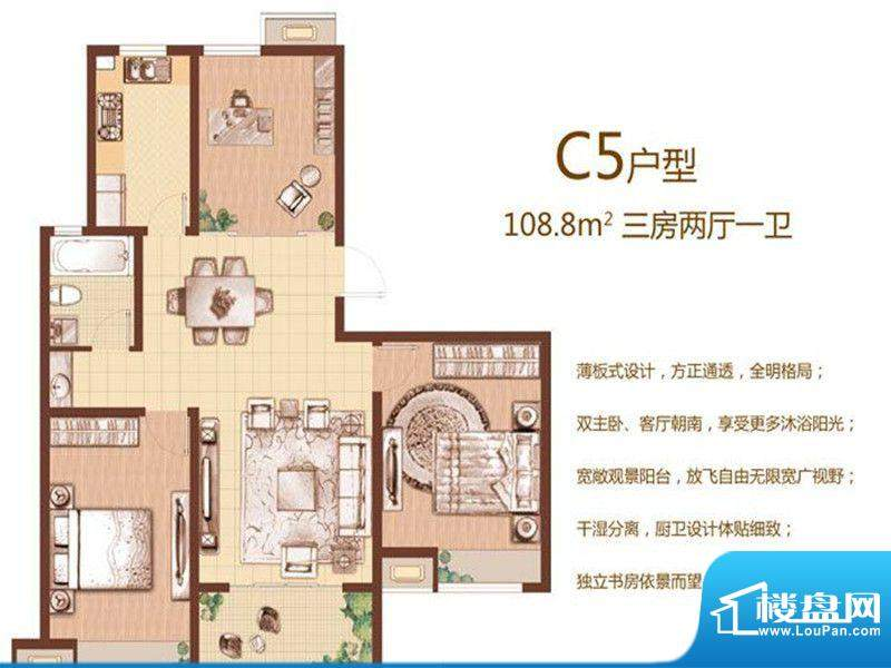 东城尚品一期标准层面积:108.80m平米