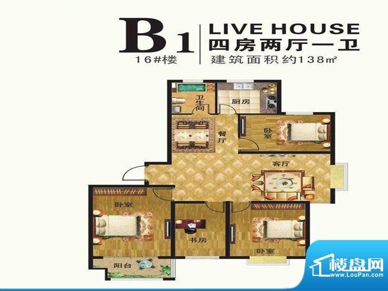 港湾明珠一期16#楼标面积:138.00m平米
