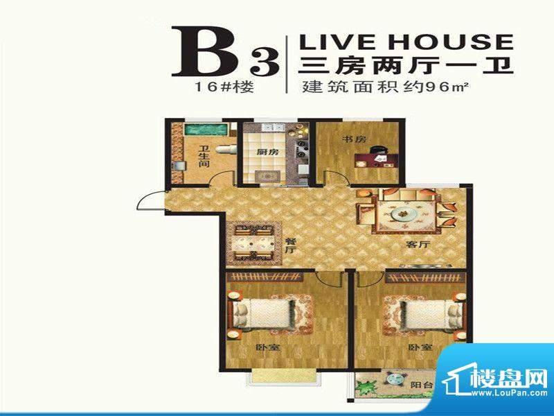港湾明珠一期16#楼标面积:96.00m平米