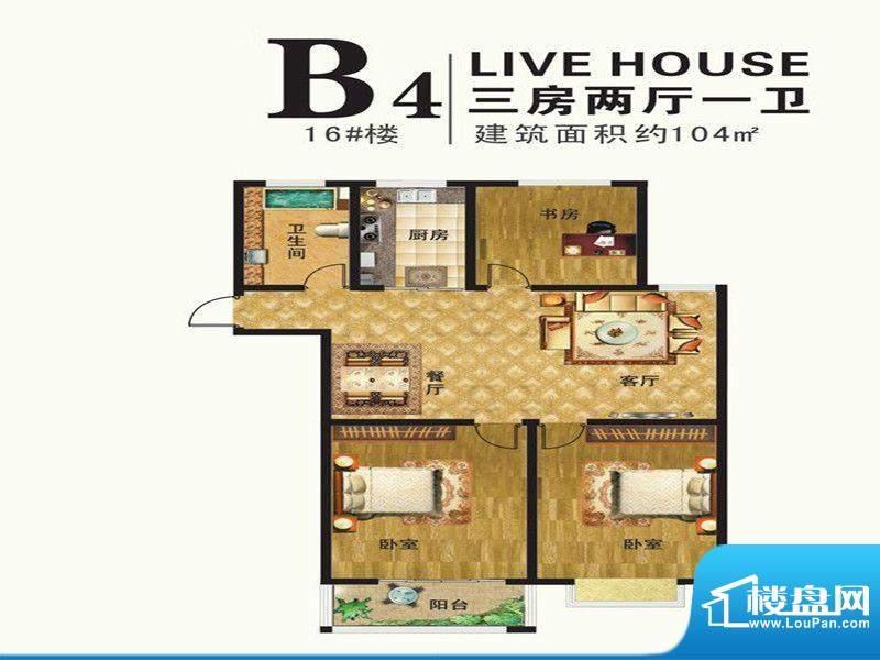 港湾明珠一期16#楼标面积:104.00m平米