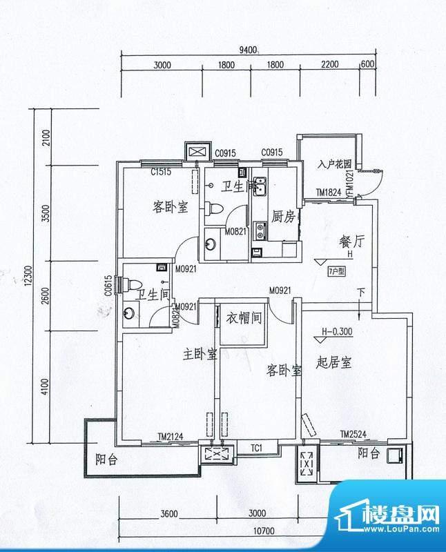 在水一方21号楼 3室面积:129.64m平米