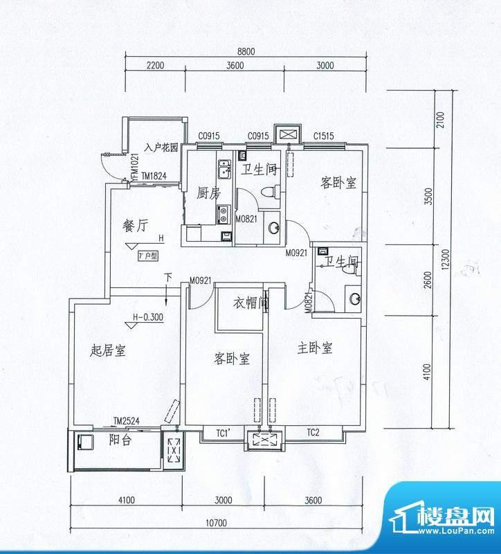 在水一方21号楼 3室面积:123.47m平米