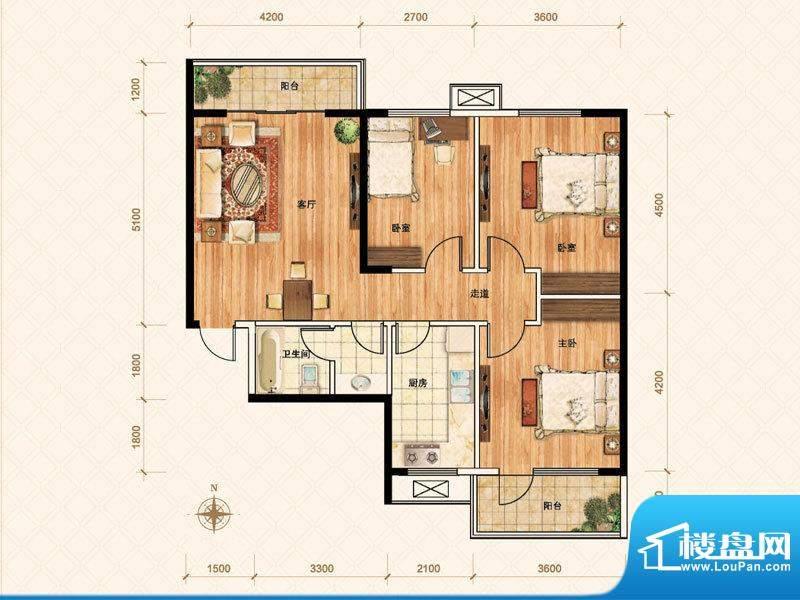 公園壹號G户型 3室1面积:105.00m平米