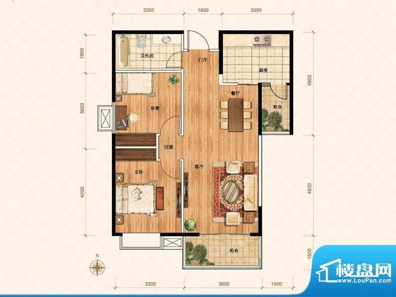 公園壹號F户型 3室2面积:92.00m平米