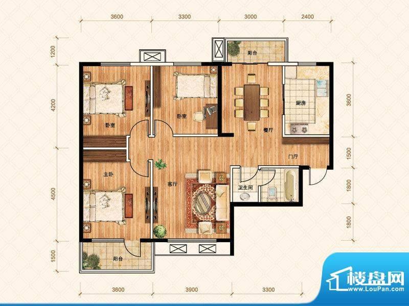 公園壹號E户型 3室2面积:126.00m平米